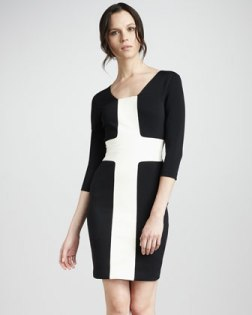 Fitted Contrast Dress & Colorblock Leather Belt