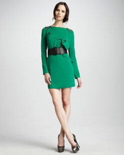Ruffled Bead-Shoulder Dress